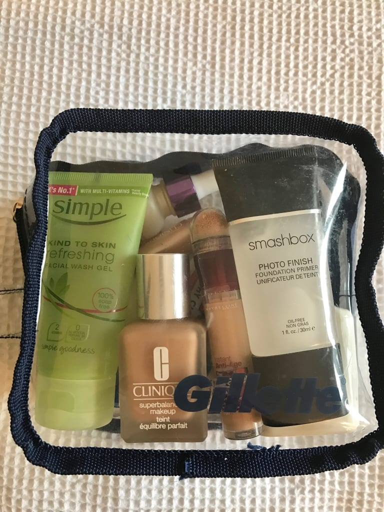 On board toiletries packing